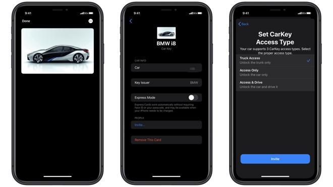 Alleged screenshots of Apple's CarKey interface.   Source: