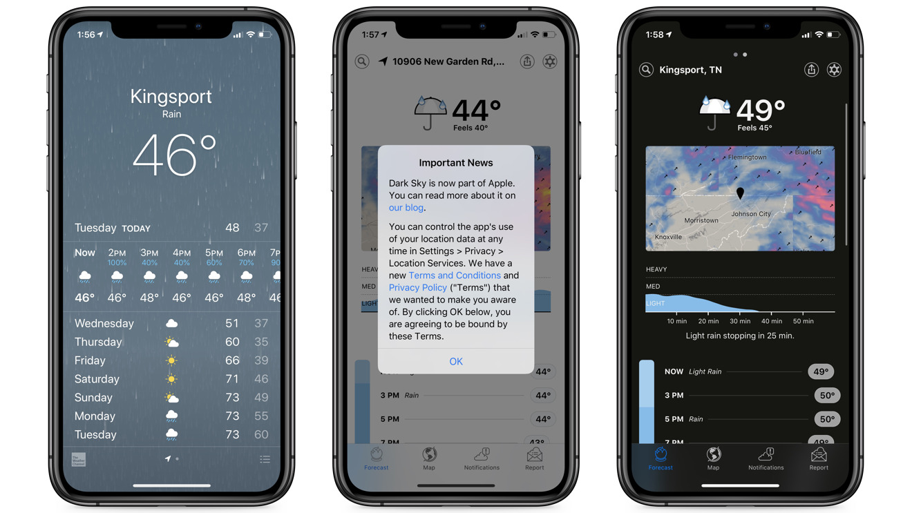 iOS 13's weather app vs Dark Sky