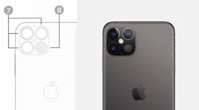 Leaked camera module placement (left) fan render (right)