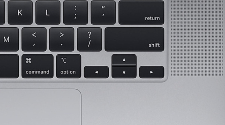 The 16-inch MacBook Pro and the inverted-T arrow keys