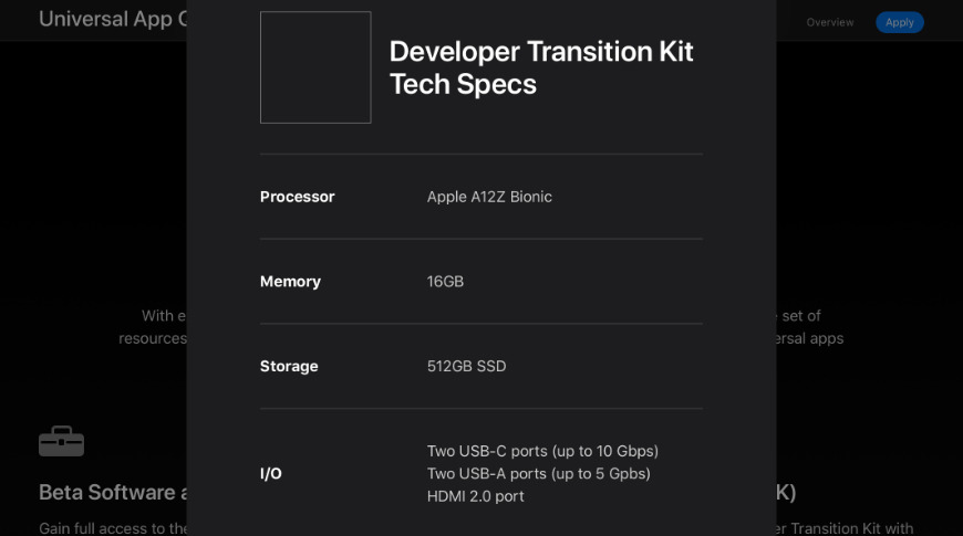 The Developer Transition Kit will be a Mac Mini with an A12Z
