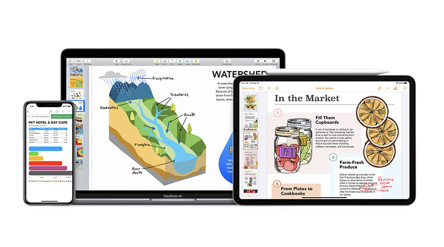 iWork is available on Mac, iPad, iPhone, and on the web
