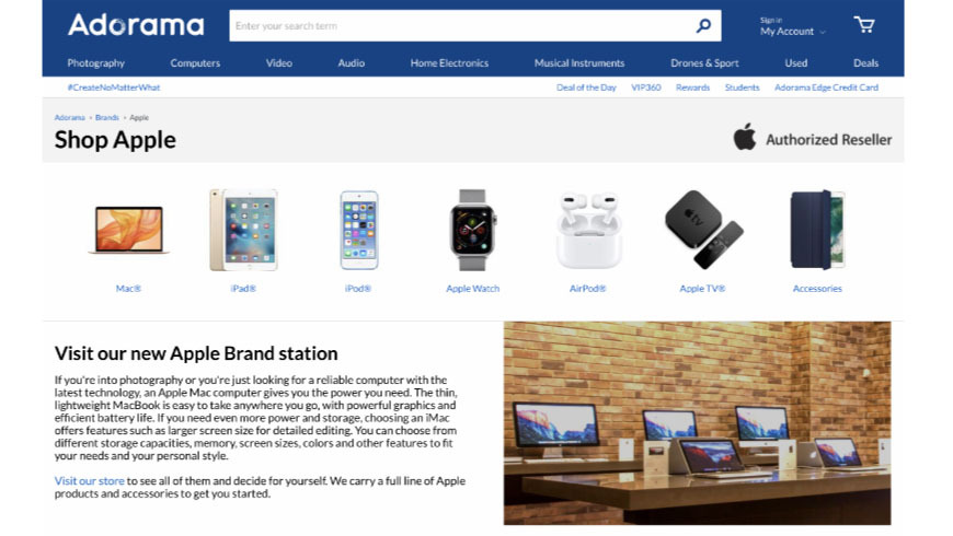 Adorama offers a wide variety of Apple products