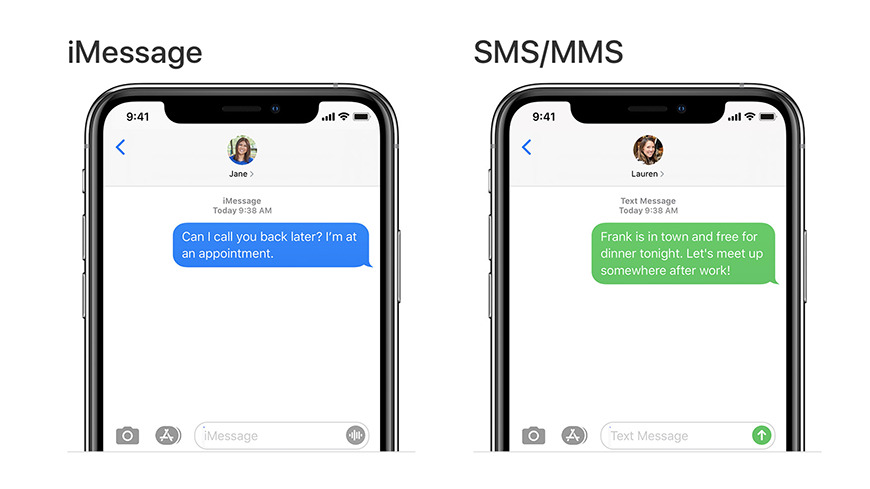 iMessage chats appear as blue bubbles, while SMS/MMS appear as green