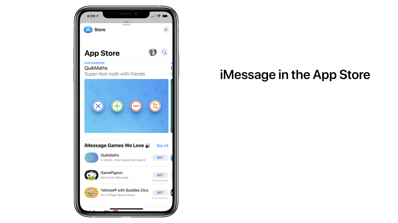 The App Store has a dedicated section for iMessage apps