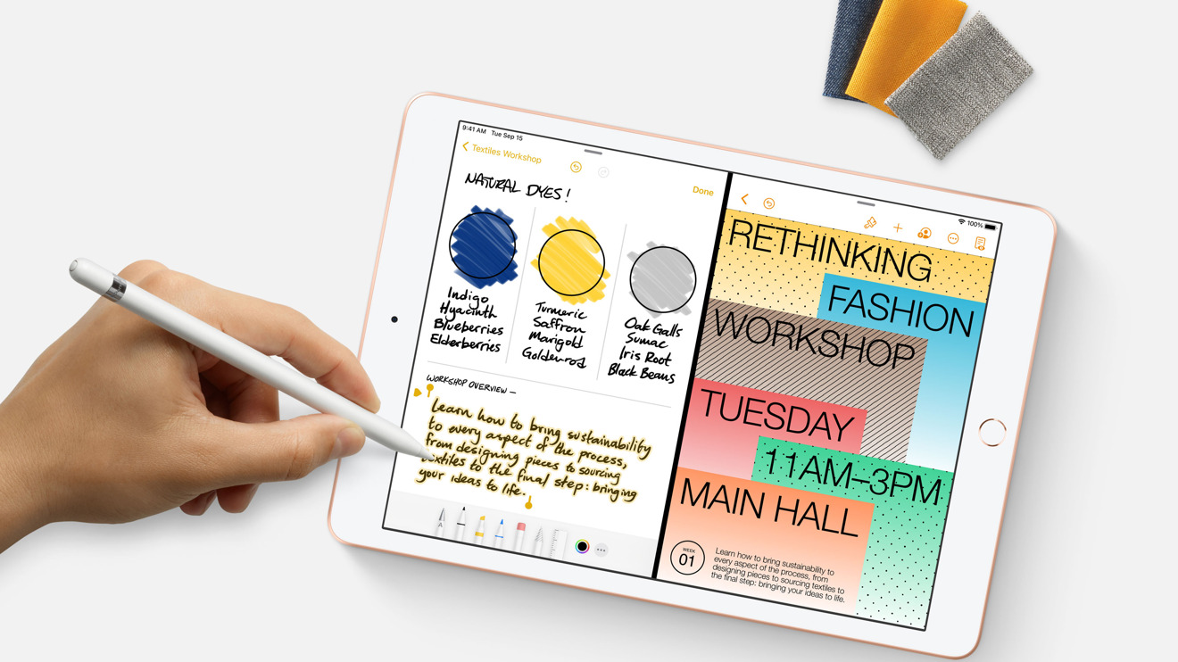 The tablet supports the first-generation Apple Pencil