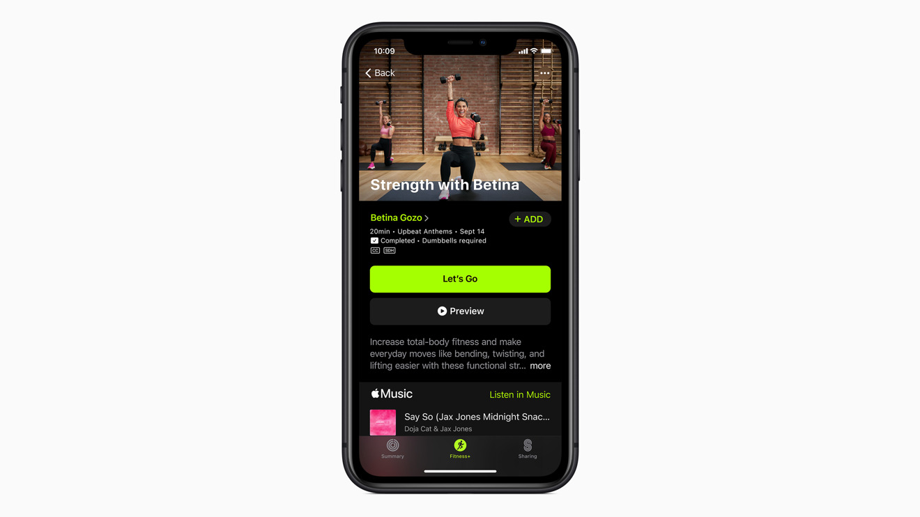 Choosing a workout in Apple Fitness+