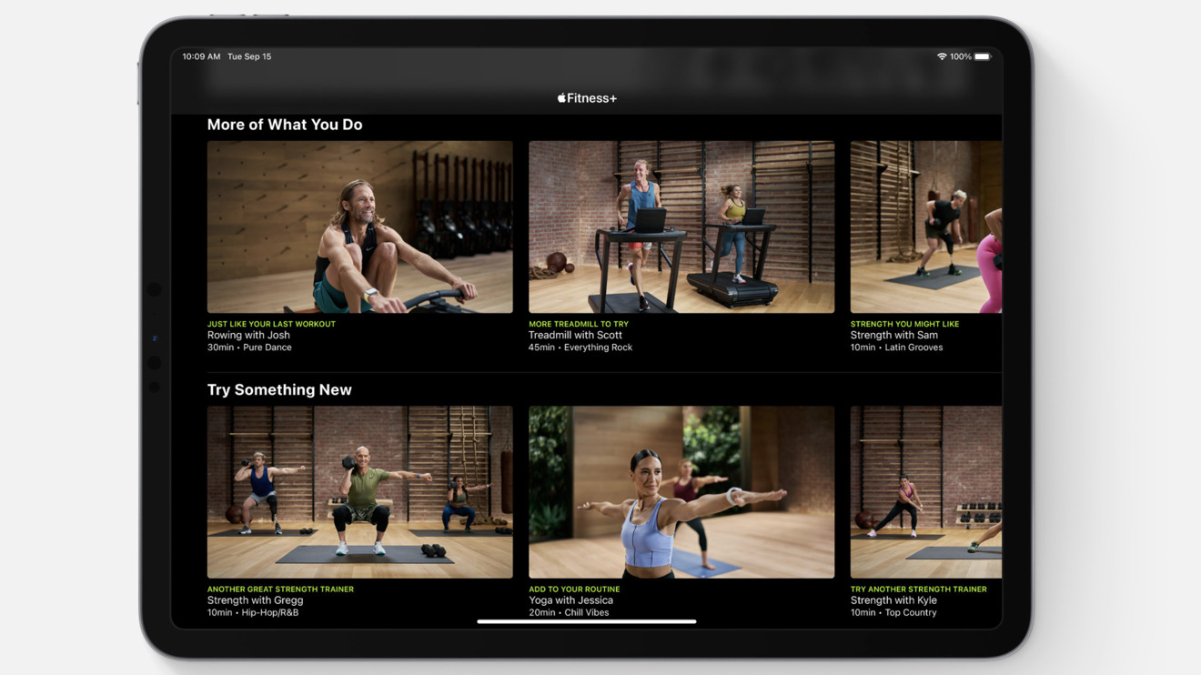 Workout recommendations on an iPad