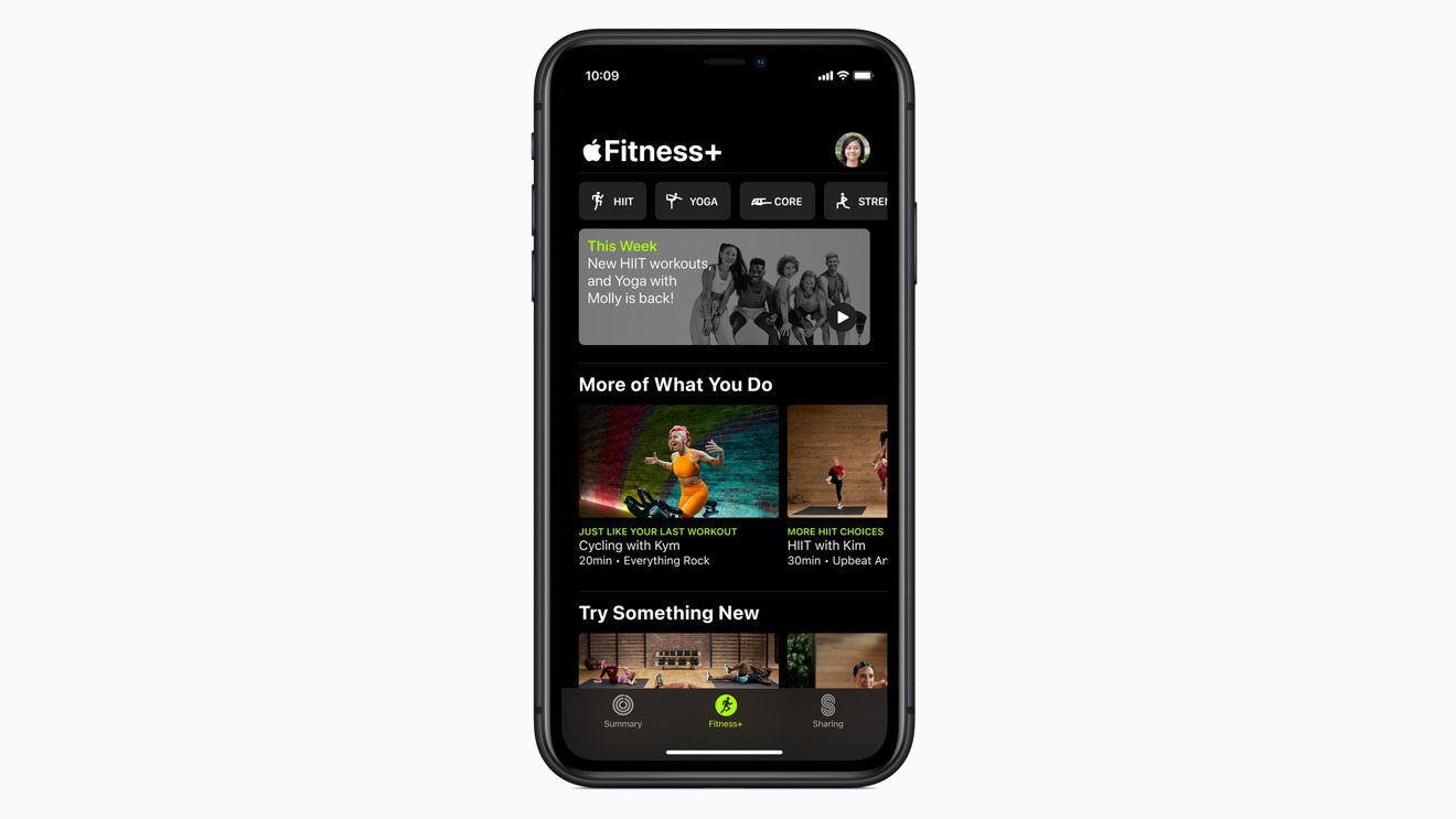 Choosing a workout in the Fitness app