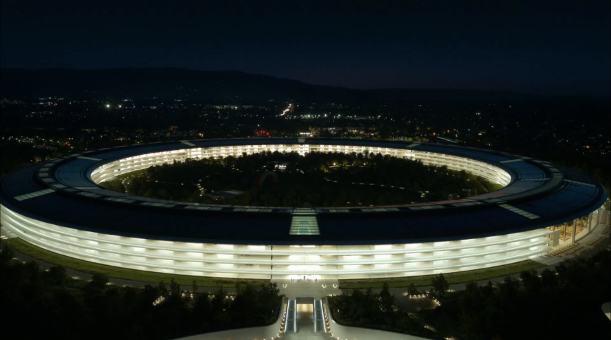 "The central building called ""The Ring"" viewed at night"