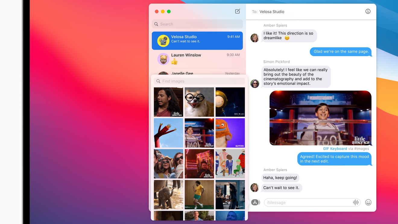 Big Sur's Messages includes limited iMessage app support, including GIFs from #images