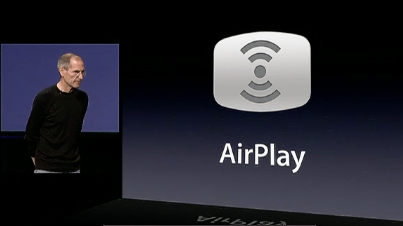 Steve Jobs announcing the rebranding of AirTunes to AirPlay at a 2010 event
