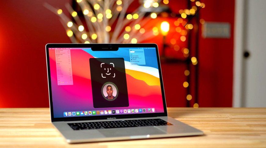 Digital rendering of a MacBook Pro with Face ID support