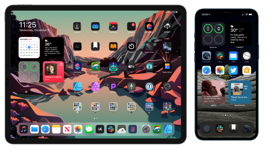 Widgets were added to iPadOS 14 and iOS 14 and are displayed on the Home Screen