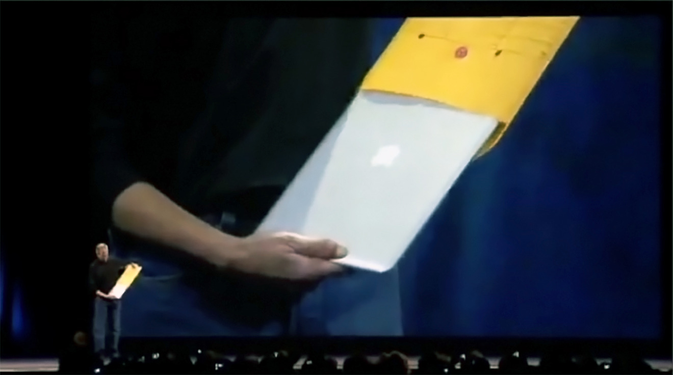 Steve Jobs revealed the MacBook Air by pulling it from an envelope, much to the audience's delight