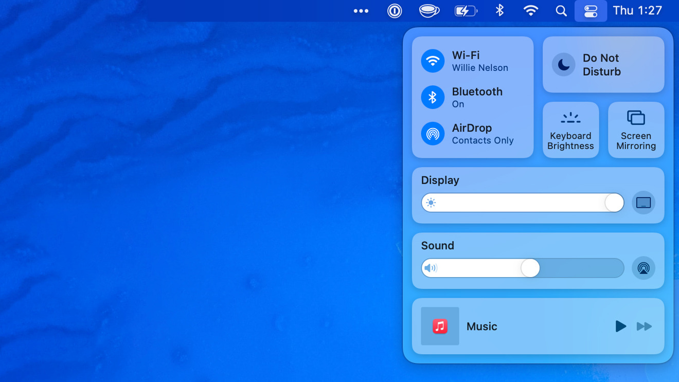 Control Center in the latest Mac software