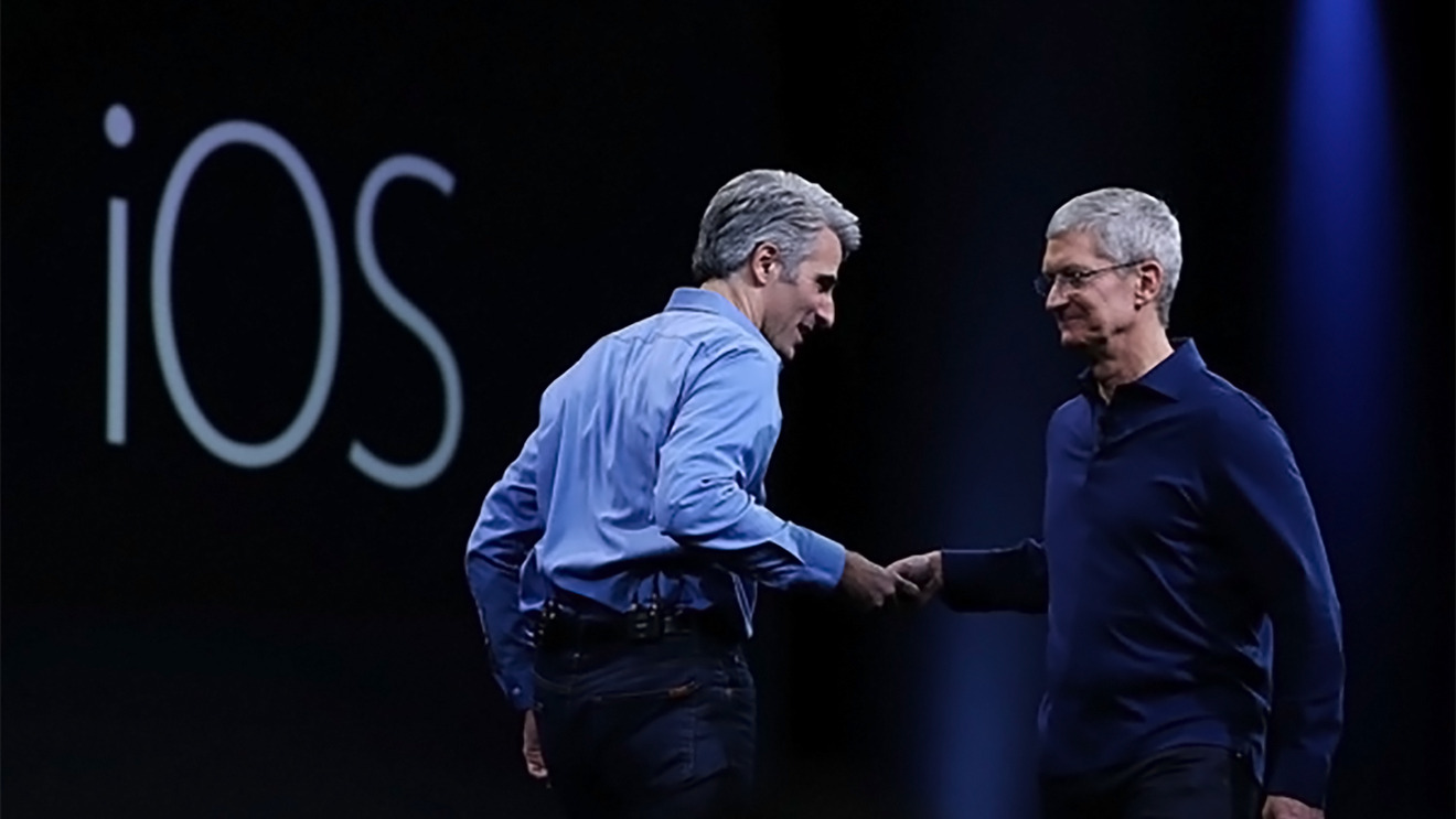 Tim Cook hands over to Craig Federighi on stage