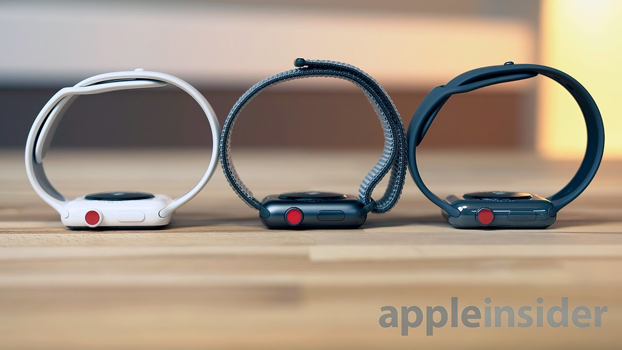 Cellular models of the Apple Watch Series 3 can be identified via their red Digital Crown