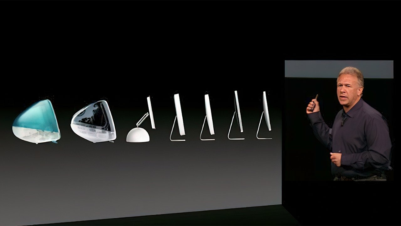 Schiller displaying the evolution of the iMac
