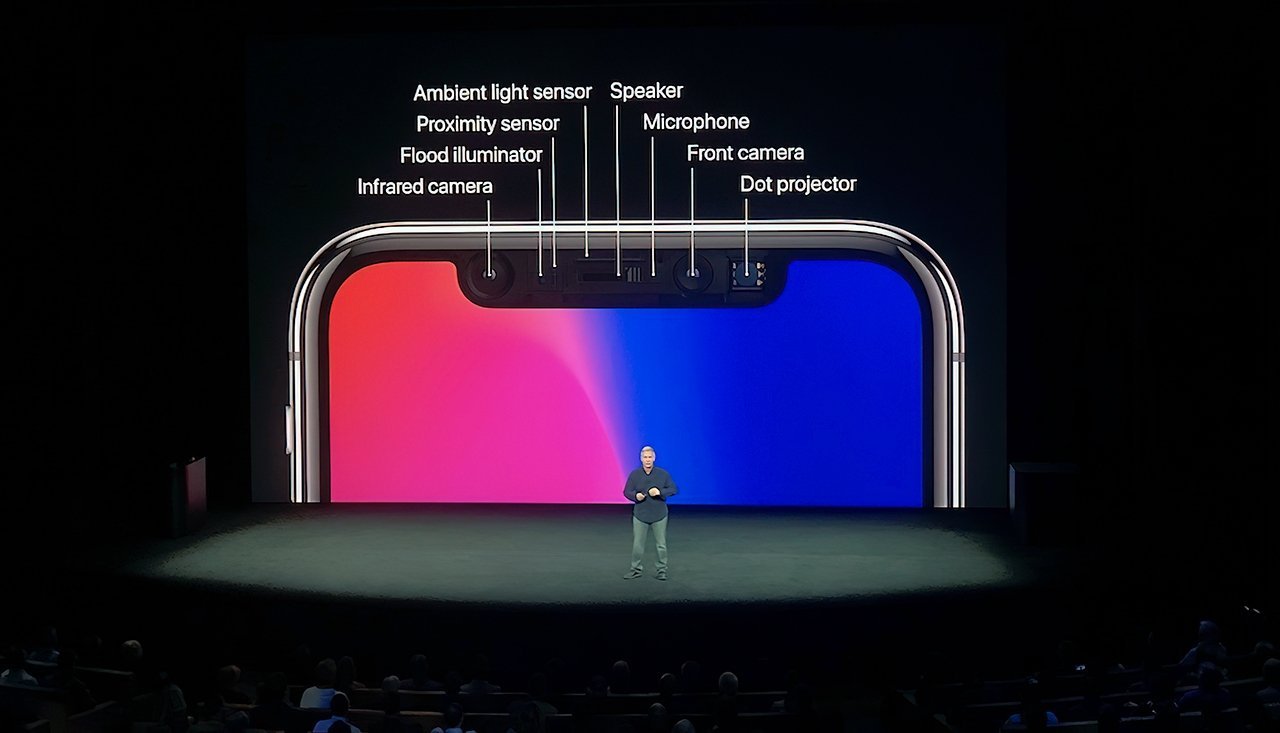 Apple's Phil Schiller relaying Face ID's embedded technology at the iPhone X launch event