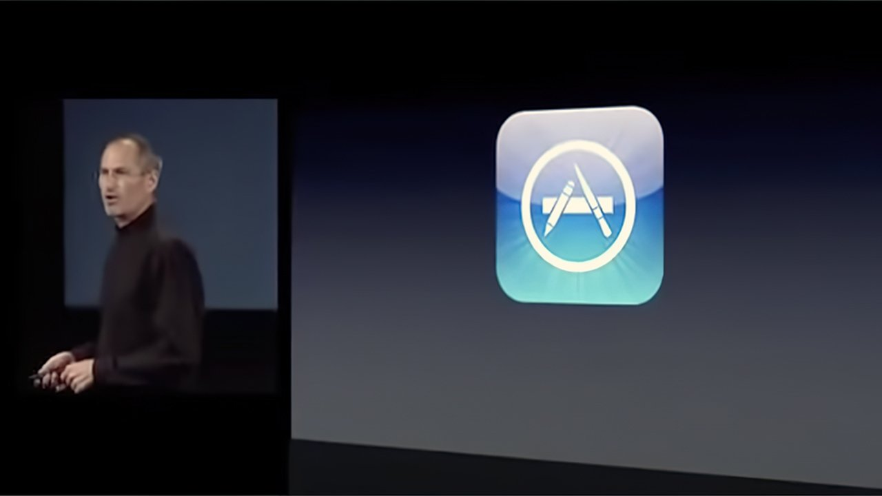 Steve Jobs announcing the first version of the App Store in 2008