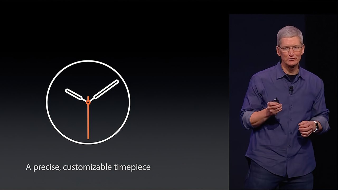 Tim Cook revealing the first Apple Watch and watchOS 1 in September 2014