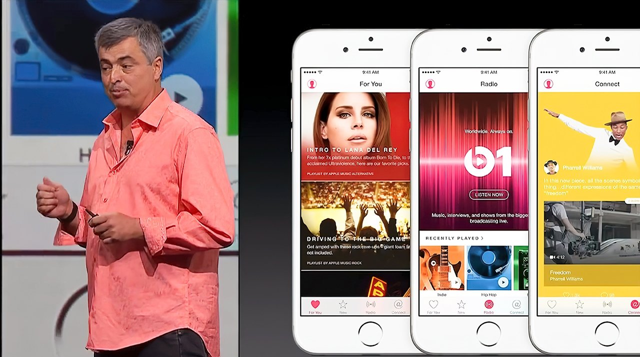 Eddy Cue showing off Apple Music during WWDC 2015