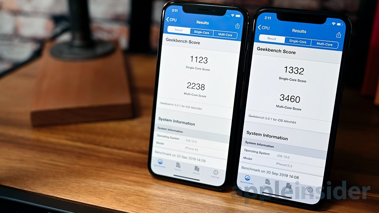 iPhone XS (left) and iPhone 11 Pro (right) Geekbench 5 results