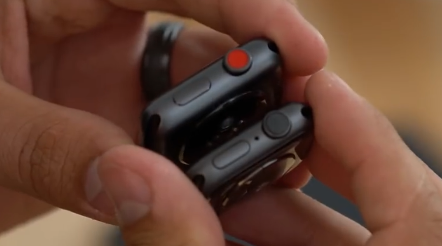 Apple Watch Series 3 with cellular has a red Digital Crown