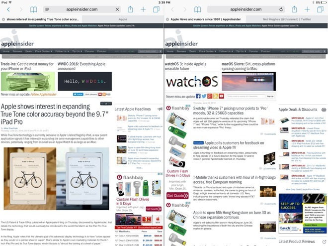 Inside iOS 10: Split-screen view in Safari for iPad boosts productivity