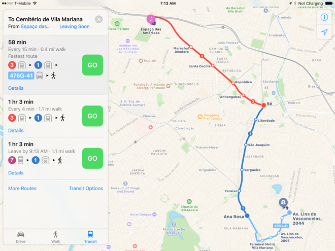 Sao Paulo joins list of cities with Apple Maps transit directions