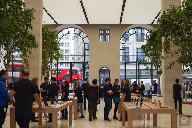 London's renovated Regent Street Apple Store interior shown