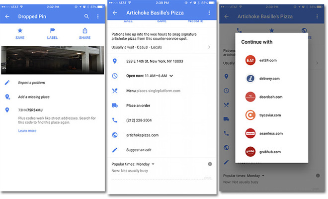 Google Maps gets food delivery, plus code integration in update on