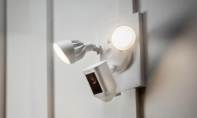 Ios Compatible Ring Floodlight Cam Features 110 Decibel Siren Cloud Camera Recording