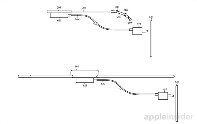 As for daily wear Apple proposes fitting the battery module under a Watch band or beneath the device chassis. This arrangement helps protect sensitive ...