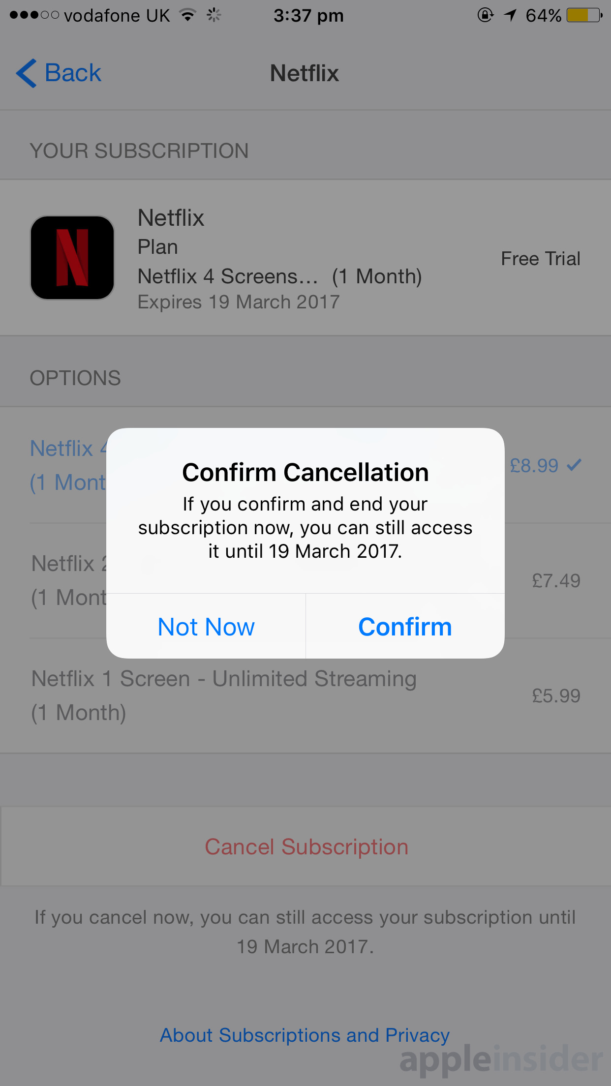 how to cancel your account on an iphone