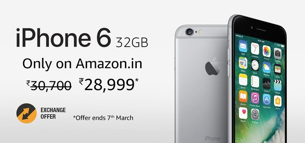77cd86025ea Amazon's regional store is advertising the 32-gigabyte iPhone 6 on the  front page, along with a two-day deal that ends on March 7.