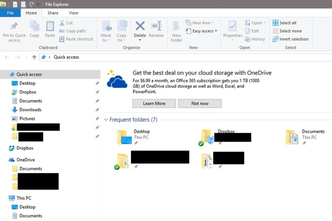 Microsoft inserting ads into Windows 10 File Explorer