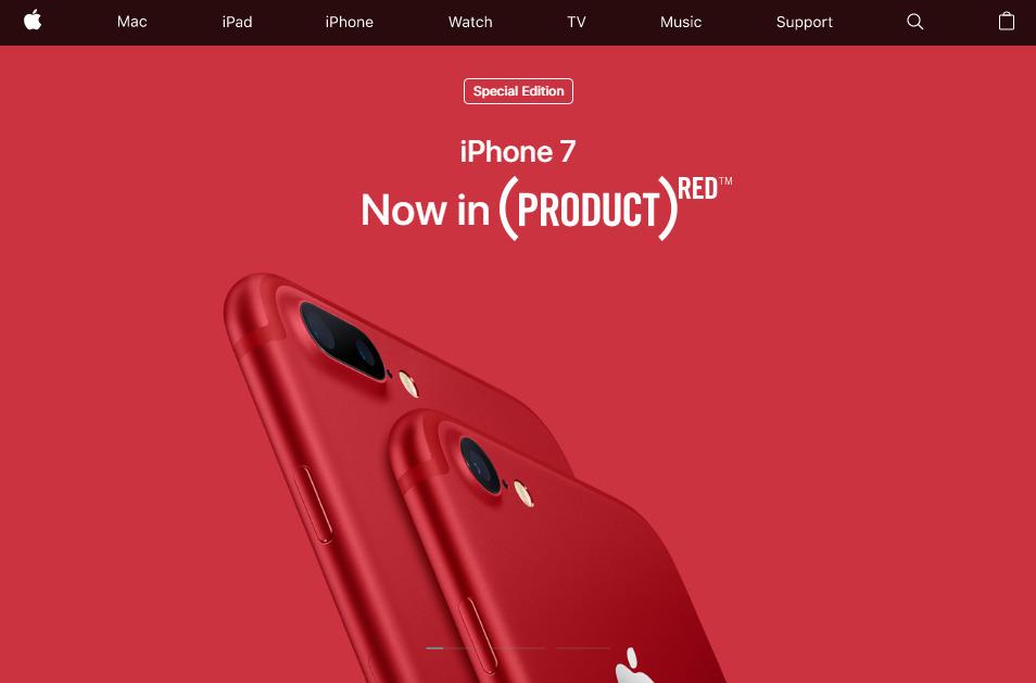 Apple's U.S. website, with (Red) branding intact.