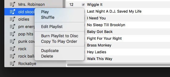 Control-click on a playlist in iTunes 12.5