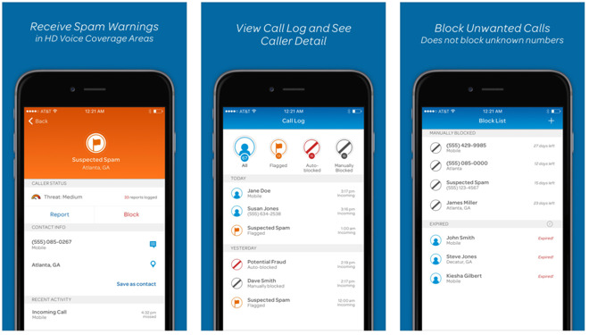 Install the AT&T 'Call Protect' app on your iPhone to cut