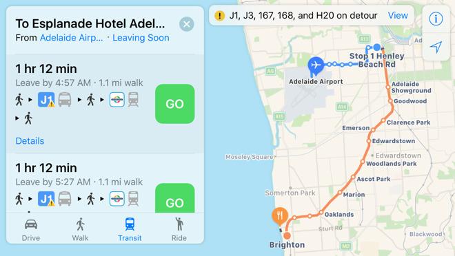 Map Adelaide Australia.Apple Maps Grows Public Transit Coverage To Adelaide Australia