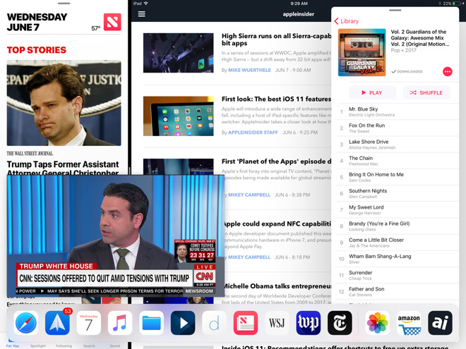 Inside iOS 11: Run four iPad apps on screen at once with Apple's