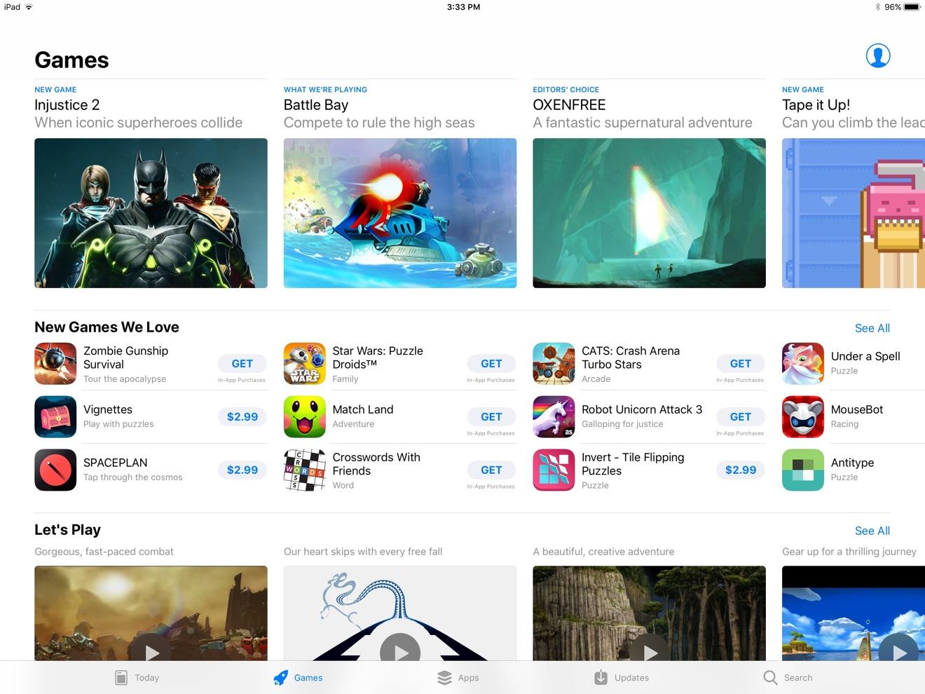 Games tab, on an 12.9-inch iPad Pro running iOS 11