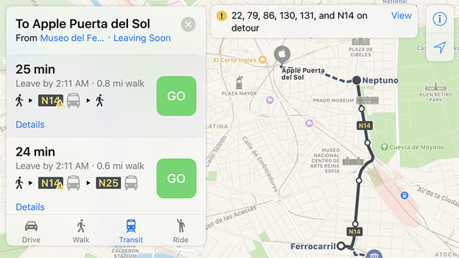 apple this week activated transit directions in madrid spain offering users in the area access to local bus train and metro travel data