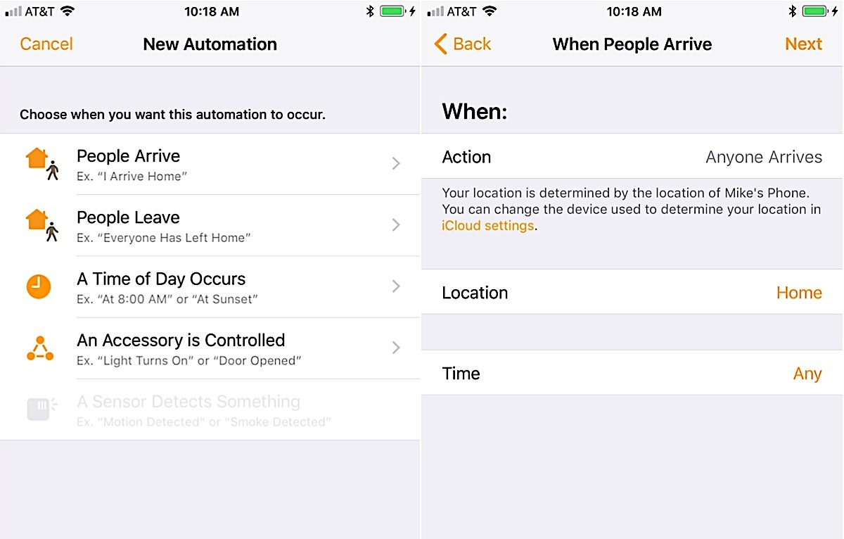 Changes to automation conditions in the iOS 11 beta
