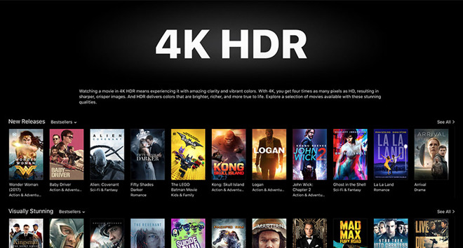Apple throws iTunes spotlight on 4K HDR movies ahead of