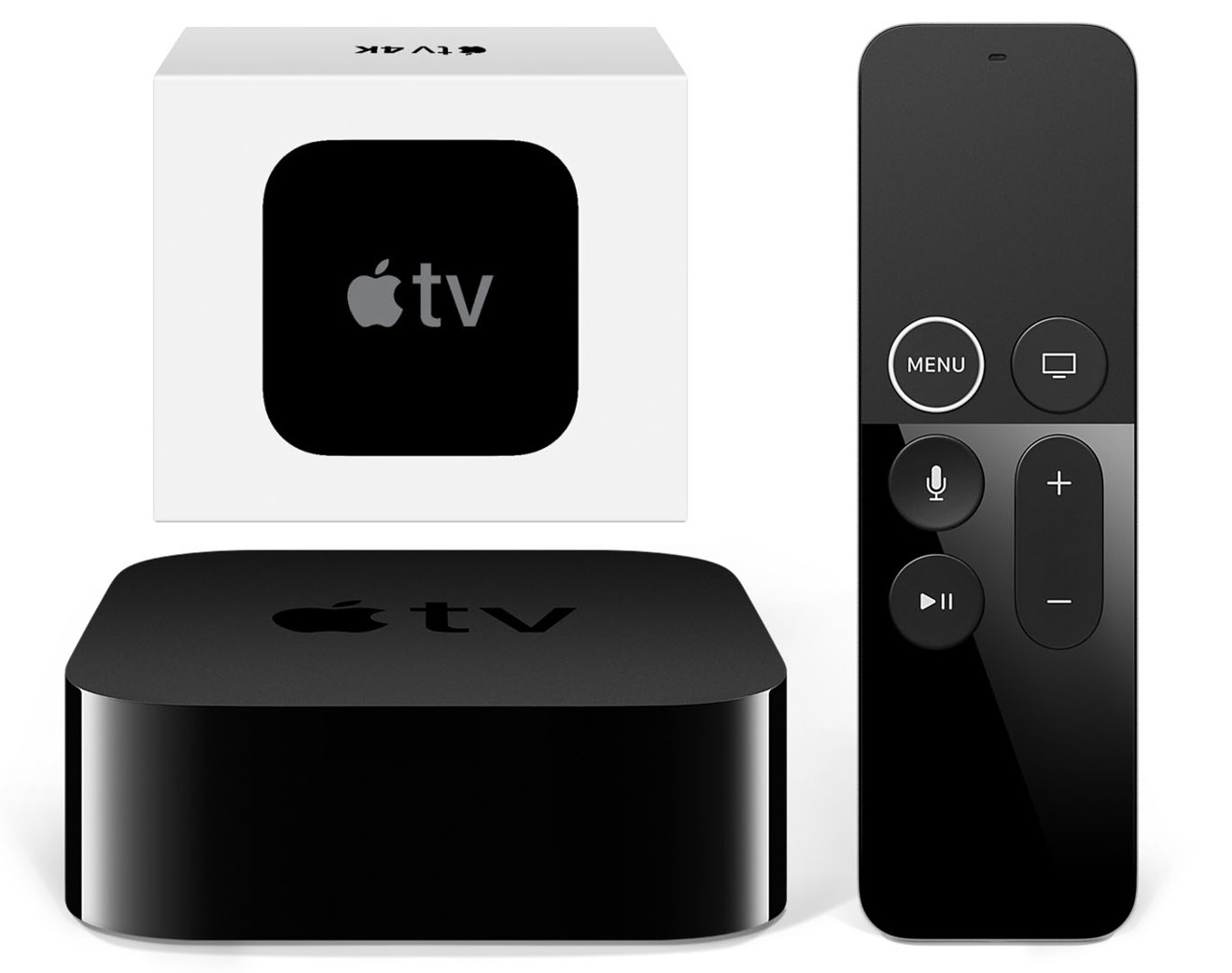 Apple TV 4K with Siri remote and box