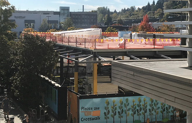 steel frames rise at next gen apple store in seattle s university