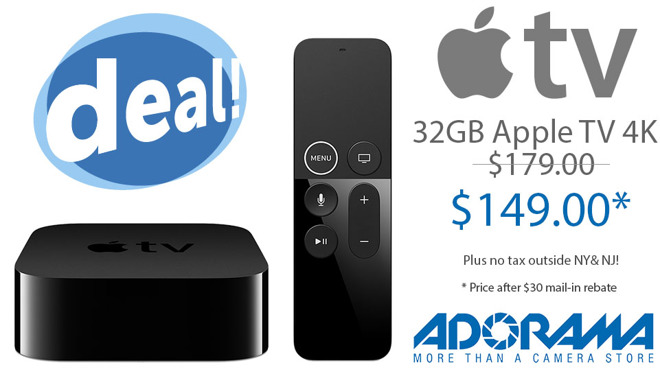 Last call! Flash Deal: 32GB Apple TV 4K for $149 after $30 MIR with